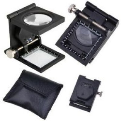 Illuminated Metal Linen Tester with x8 magnification
