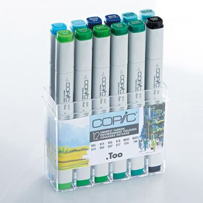 Copic Classic Marker 12 Colour Set Environmental Colours